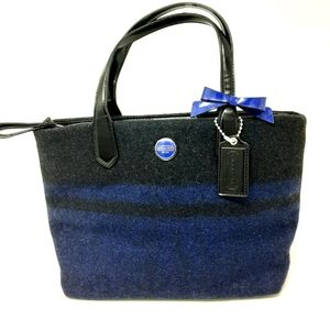 Coach Signature Wool Navy Stripe Tote Charm Bag